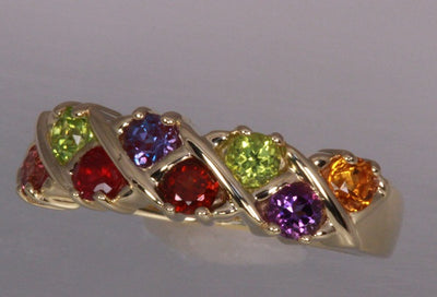 Eight Birthstone Weave Mothers Ring*