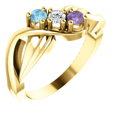 3 stone Flowing Mother's Ring*