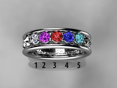 Celtic Style Mothers Ring With Five 3mm Natural Birthstones*