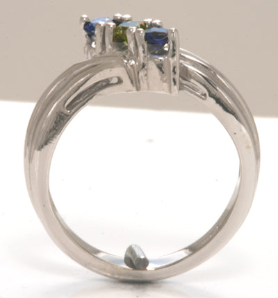 3 Birthstone Silver Fluted Bypass Shank Mothers Ring*