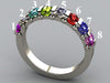 8 Stone Christopher Michael Design Mothers Ring 3mm With Heart Accent*