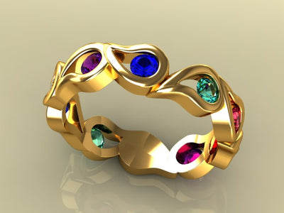 Unique Five Birthstone Mothers Ring By Christopher Michael*