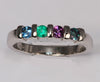 Silver Four Birthstone Bar Set Mothers Ring*