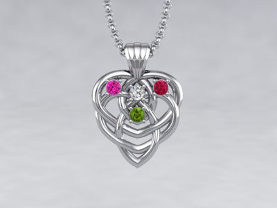 Celtic Mothers Birthstone Pendant 4 Stone* Christopher Michael Design