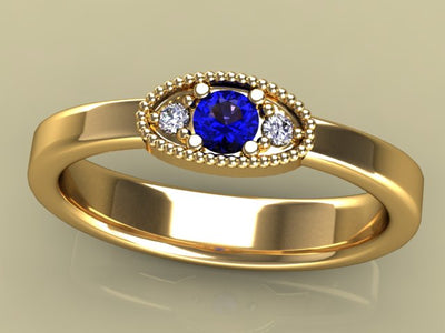 Classy 1 Birthstone Mothers Ring by Christopher Michael  with Fine Cut Diamonds* - MothersFamilyRings.com