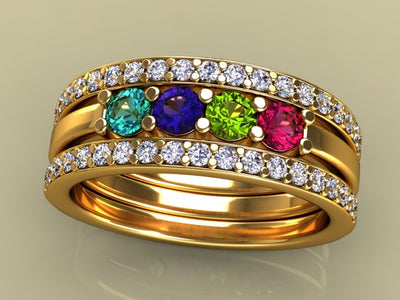 4 Birthstones Mothers Ring Flanked with Fine Diamond*