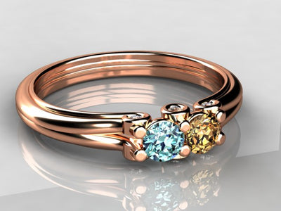 Larger 3.5 mm Two Birthstones Mothers Ring by Christopher Michael With Diamond Accent*