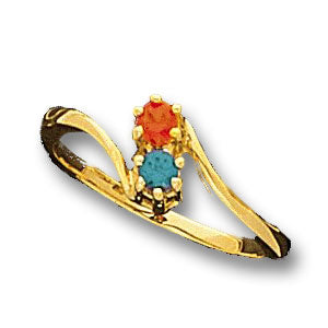 Two Birthstone Twist Shank Mothers Ring*