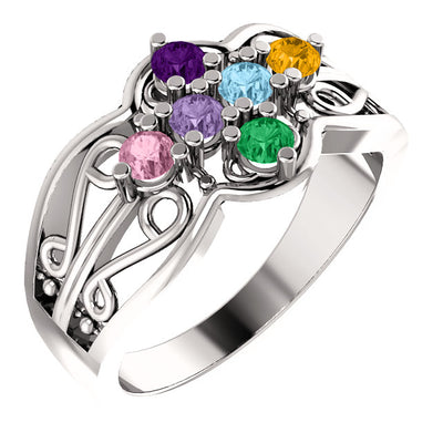 Six Birthstone Mothers Ring*