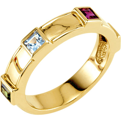 Princess Mothers Ring With Four Bezeled Birthstones*