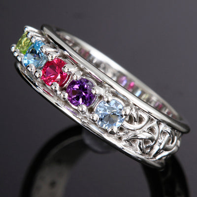 Christopher Michael designed Celtic Style Mothers Ring With Five 3mm Natural Birthstones*