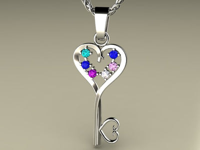 Six Birthstone Key To Hearts Mothers Pendant* Christopher Michael Design