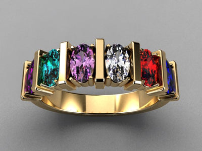 Six Stone Oval Mothers Ring with Bars* designed by Christopher Michael - MothersFamilyRings.com