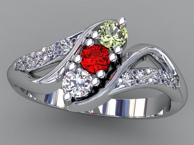Christopher Michael Designed Twist Mothers Ring With Fine Cut Diamonds*