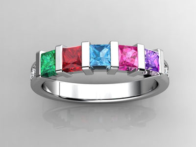 Christopher Michael Designed Four Birthstone Mothers Ring*