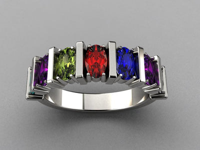 Seven Stone Oval Mothers Ring with Bars* designed by Christopher Michael