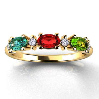 3 Birthstone Christopher Michael Designed Ring With Oval Birthstones Set East to West*