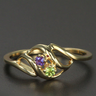 2 Stone Mothers Ring with Fine Natural Gems* - MothersFamilyRings.com