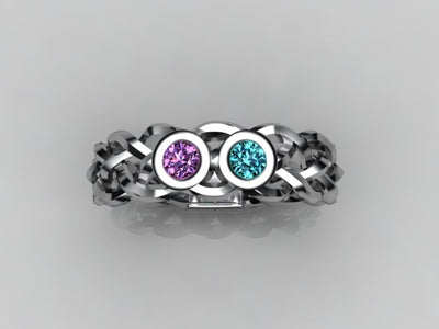 Custom Designed by Christopher Michael  Mothers Ring With Two Bezeled 3mm Birthstones*