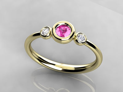 Bezeled Larger Round One Birthstone Mothers Ring With Fine Diamonds* Designed by Christopher Michael