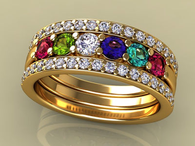 6 Birthstones Mothers Ring Flanked with Fine Diamond* Christopher Michael Design