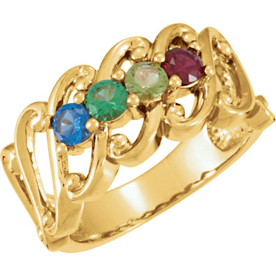 4 Birthstone Wide Mothers Ring*