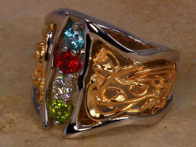 Art Nouveau Inspired 4 Birthstone Mothers Ring* Christopher Michael Design - mothers family rings