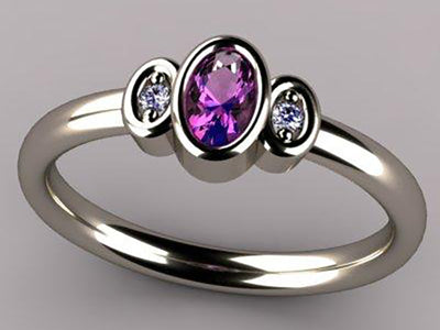 Bezeled One Stone Oval Mothers Ring With Diamond* Designed by Christopher Michael
