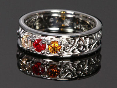Christopher Michael designed Celtic Style Mothers Ring With Three 3mm Natural Birthstones - mothers family rings