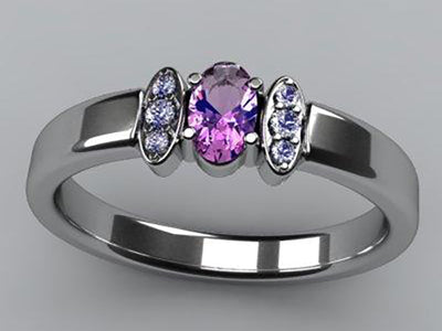 Christopher Michael Designed One Stone Oval Mothers Ring with Diamond* - MothersFamilyRings.com