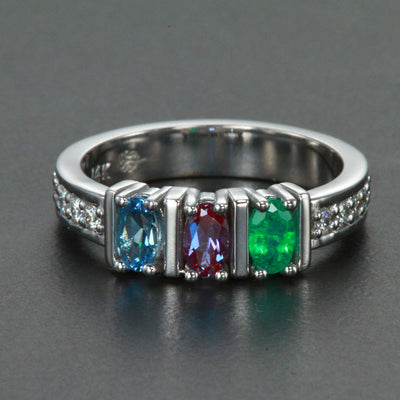 Exquisite Three Stone Oval Mothers Ring with Diamonds* Designed by Christopher Michael
