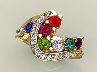 Eight Birthstone Custom Mothers Ring With fine Cut Diamonds by Christopher Michael - Mothers family rings