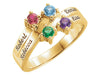 Engraved Ring With Four 3mm Natural Gems*