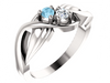 Flowing Mother's Ring with 2 Natural Gemstones*