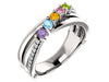 Four Stone Split Shank Heavy Family Ring With Fine Diamonds - mothers family rings