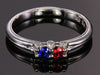 Larger 3.5 mm Two Birthstones Mothers Ring by Christopher Michael With Diamond Accent- mothers family rings