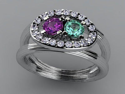 Large Two Birthstone Mothers Ring with Diamonds