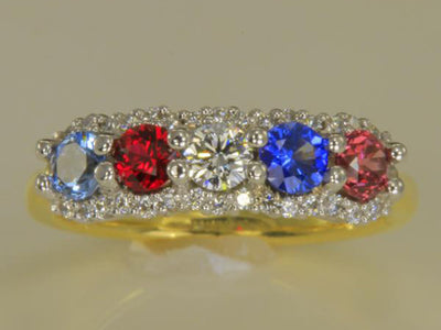 Mother's Ring With Fine Diamond and 5 Natural Birthstones designed by Christopher Michael - mothers family rings