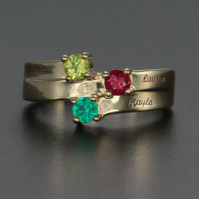 Engraved Ring With Three 3mm Natural Gems*