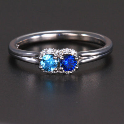 Mother's Ring With Fine Diamond and Two Natural Birthstones* designed by Christopher Michael