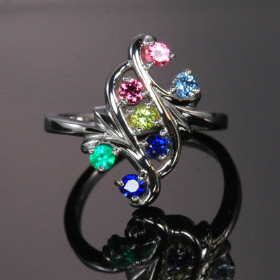 Bold 6 Birthstone Mothers Ring*
