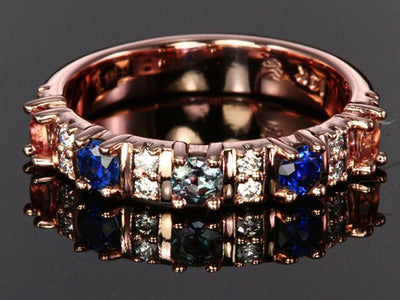 Our Most Popular Mothers ring with Five Larger 3.5 mm Gems by Christopher Michael - mothers family rings
