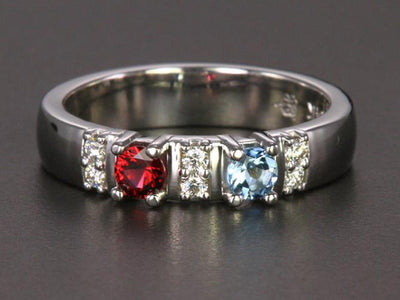 Our Most Popular Mothers ring with Two Larger 3.5 mm Gems by Christopher Michael - mothers family rings