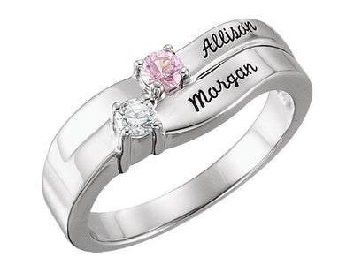 Personalized Engraved 2 Birthstone Mothers Ring*