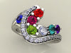 Seven Birthstone Custom Mothers Ring With Fine Cut Diamonds by Christopher Michael - mothers family rings