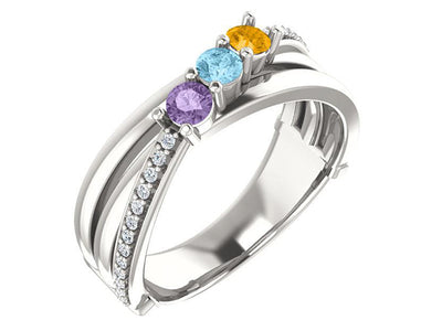 Split Shank Heavy 3 Stone Family Ring With Fine Diamonds - mothers family rings