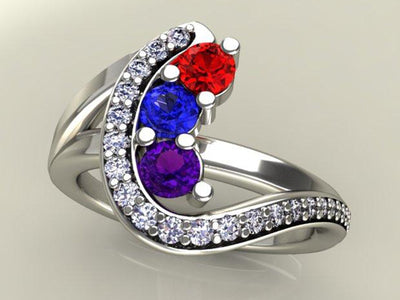 mothers family rings Three Birthstone Custom Mothers Ring With Fine Cut Diamonds by Christopher Michael