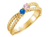 Twisted Criss Cross mothers ring 2 stone*