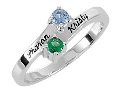 Engraved Ring With Two 3mm Natural Gems* - MothersFamilyRings.com