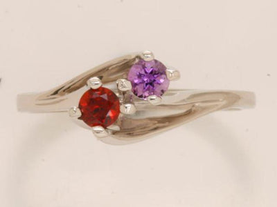 Two Stone Twist Shank Mothers Ring*